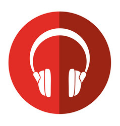 Headphones music sound device shadow vector