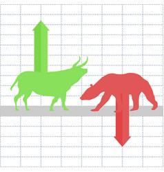 Battle between bulls and bears on financial market vector
