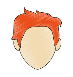 Color pencil faceless front view man with vector