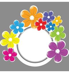 Frame with colored flowers vector