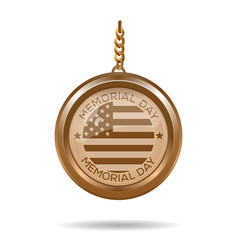 Round gold medallion for memorial day vector