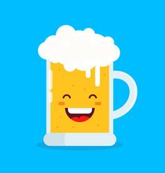 cute happy smiling fun drunk beer glasses vector image