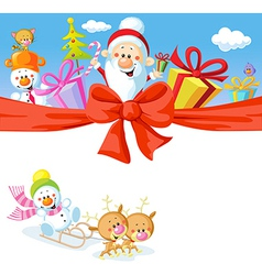 Christmas design with santa claus gifts xmas tree vector