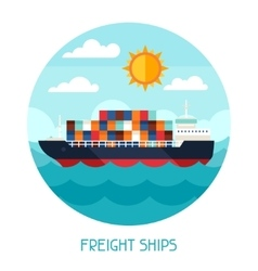 Freight ships transport background in flat design vector