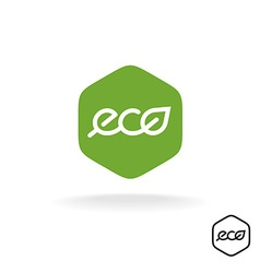 Eco text badge with green leaf linear style vector