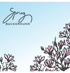 Spring background with blossom brunch of magnolia vector