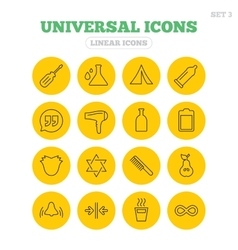 Universal icons camping tent hot coffee drink vector