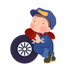 Auto mechanic boy leaning against a car tire vector