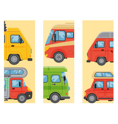 Campers vacation travel car summer brochure nature vector
