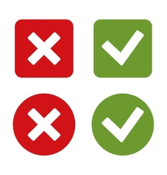Check mark stickers and buttons red and green vector
