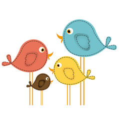 Colorful cute cartoon birds set vector
