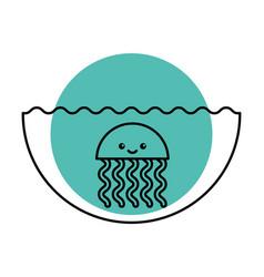 cute jellyfish sealife icon vector image