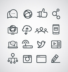 Different social media icons collection clip-art vector image vector image