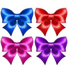 Festive bows with glitter vector