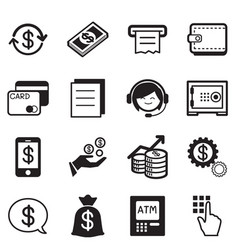 Finance amp banking icons credit card atm vector