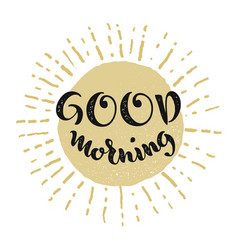 Good morning lettering smiling sun vector