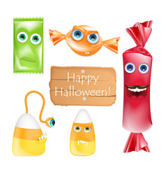 halloween design with candies monsters set of vector image