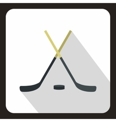 Hockey sticks and puck icon flat style vector image vector image