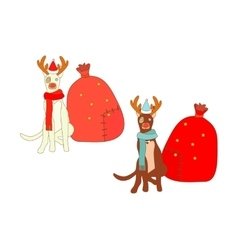 Isolated christmas dogs vector