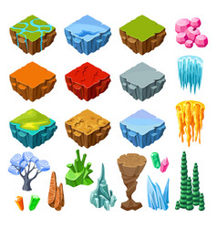 isometric bright game landscape icons collection vector image
