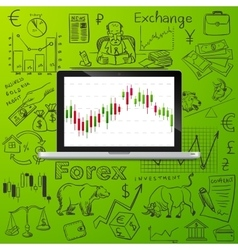 laptop and exchange doodle icon vector image