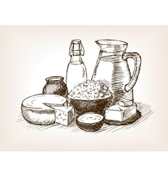 Milk products sketch style vector image vector image