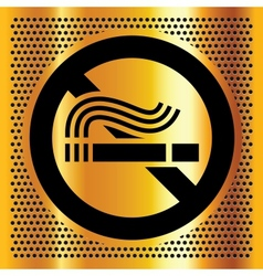No smoking symbol on a gold background vector image