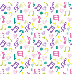 Olorful music-notes and hearts on white background vector