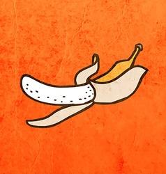 Peeled banana cartoon vector