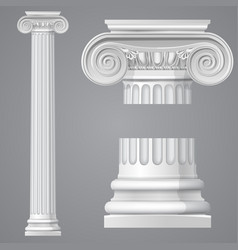 Realistic antique ionic column isolated vector