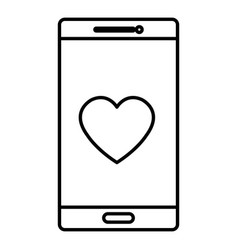 Smartphone device with heart isolated icon vector