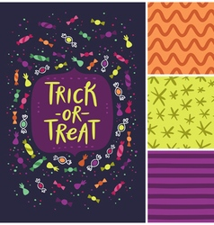 Trick or treat card and patterns vector image