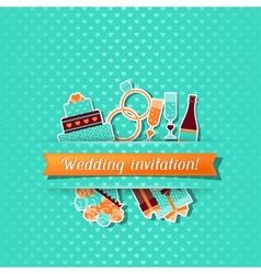 Wedding invitation card with stickers in retro vector image vector image