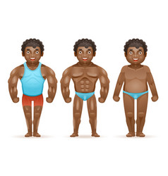 Weight loss afroamerican bodybuilder muscular fat vector