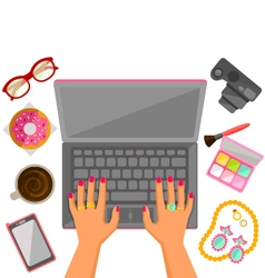 woman typing a laptop vector image