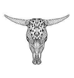 Zentangle stylized bull skull Sketch for tattoo vector image