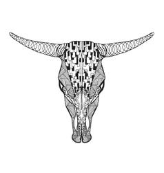 Zentangle stylized bull skull Sketch for tattoo vector image vector image