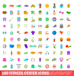 100 fitness center icons set cartoon style vector