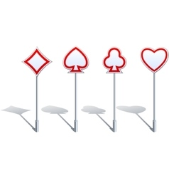 Card Suit Shaped Road Signs vector image