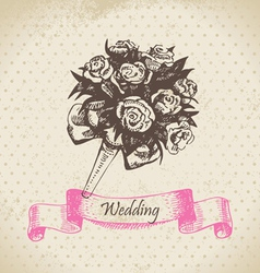 Wedding bouquet hand drawn vector