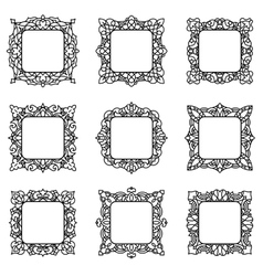 Set of 9 square frames vector