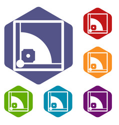 baseball field icons set vector image