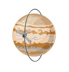 Jupiter and spacecraft art vector
