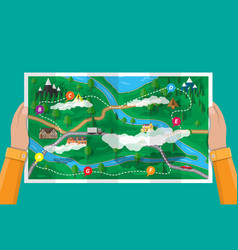 Suburban paper nature map gps and navigation vector