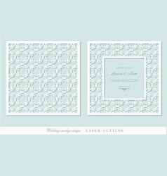 Laser cutting frame and ornamental panel set vector