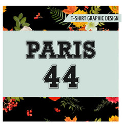 T-shirt floral paris graphic with maple leaves vector