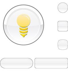 Bulb white button vector