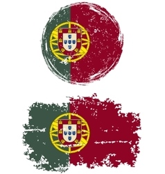 Portuguese round and square grunge flags vector