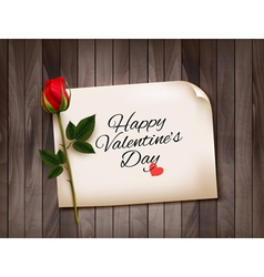 Happy valentines day background with a note on a vector