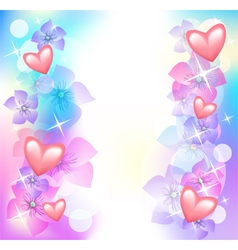 Valentine hearts with flowers vector